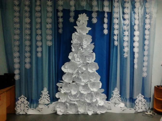 Оформление зала на новый год своими руками картинки