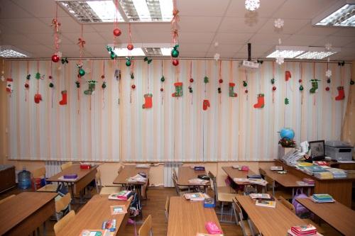 Украшение школьного класса на новый год 2016